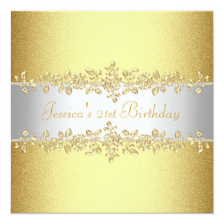 Elegant Yellow Gold Roses Birthday Party Card