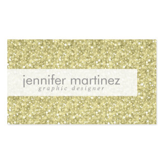 Elegant Yellow Gold Tones Glitter & Sparkles 2 Double-Sided Standard Business Cards (Pack Of 100)