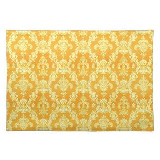 elegant yellow golden damask graphic pattern. cloth place mat