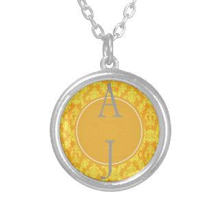 elegant yellow golden damask monogram graphic jewelry