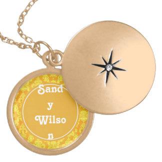 elegant yellow golden damask monogram graphic pendants
