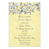 Elegant yellow gray Bridal Shower Invitation