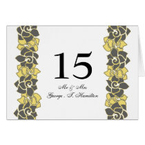 "Elegant ""yellow gray""  floral table seating card"