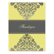 "Elegant ""yellow gray"" Thank You Cards"