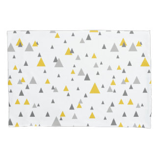 Elegant Yellow & Gray Triangles Modern Pattern Pillowcase