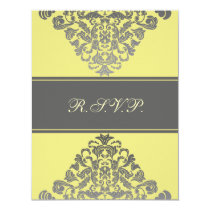 "elegant  ""yellow gray"" wedding RSVP Card"