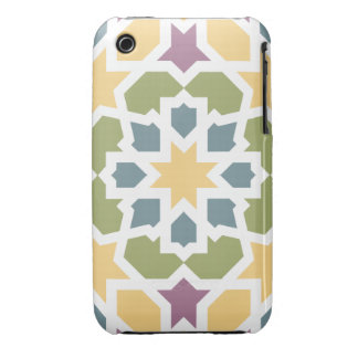 Elegant yellow, green Moroccan geometry and lilac Case-Mate iPhone 3 Case
