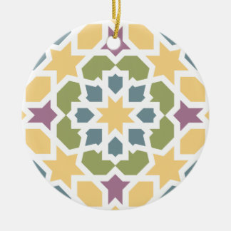 Elegant yellow, green Moroccan geometry and lilac Double-Sided Ceramic Round Christmas Ornament