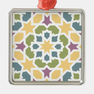 Elegant yellow, green Moroccan geometry and lilac Square Metal Christmas Ornament