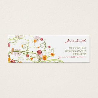 Elegant Yellow Hibiscus Nature Floral Swirls Birds Mini Business Card