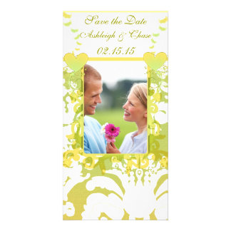 Elegant Yellow & Lime Damask Save the Date Card