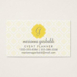 Elegant Yellow Moroccan Trellis Quatrefoil Custom Business Card