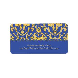 Elegant Yellow n Royal Blue Damask Address Label