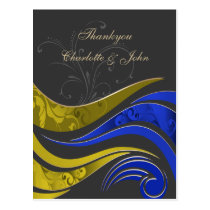 "Elegant ""yellow navy""  Thank You Cards"