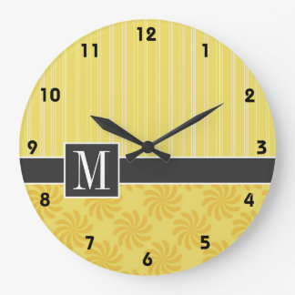 Elegant Yellow Orange Swirl Wall Clocks