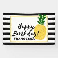 Elegant Yellow Pineapple Happy Birthday Banner