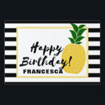 "Elegant Yellow Pineapple Happy Birthday Lawn Sign<br><div class=""desc"">Add that special touch to your luau party decor with the Elegant Yellow Pineapple Happy Birthday Yard Sign designed by Enchantfancy Design Company. This yard sign features a stylish pineapple accented by black and white stripes. Coordinating luau party products are available to help you tie the pineapple theme together.</div>"