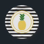 "Elegant Yellow Pineapple Paper Plate<br><div class=""desc"">Add that special touch to your luau tablescape with the Elegant Yellow Pineapple Paper Plates designed by Enchantfancy Design Company. This plate features a stylish pineapple accented by black and white stripes. Coordinating luau party products are available to help you tie the pineapple theme together.</div>"