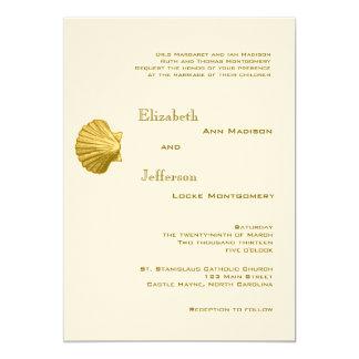 Elegant Yellow Rattan Seashell Wedding Invitation