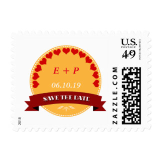 Elegant Yellow-Red Postage Stamp