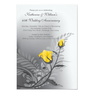 Elegant Yellow Rose Anniversary Invitation