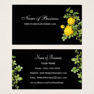 Elegant Yellow Rose Floral Professional Black Business Card