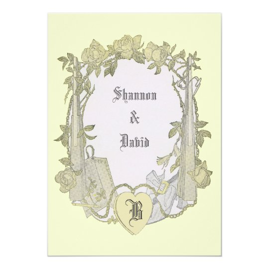 Elegant Yellow Rose Vintage Wedding Chuppah Card
