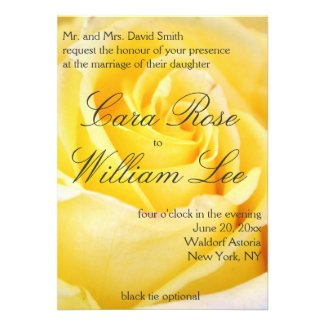 Elegant Yellow Rose Wedding Invitations