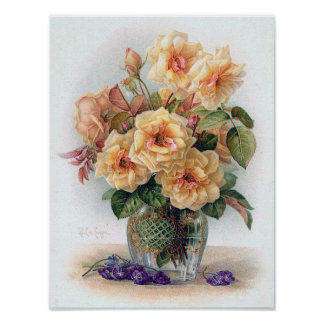 Elegant Yellow Roses in a Glass Vase Print