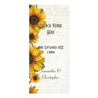 Elegant yellow sunflower church wedding program