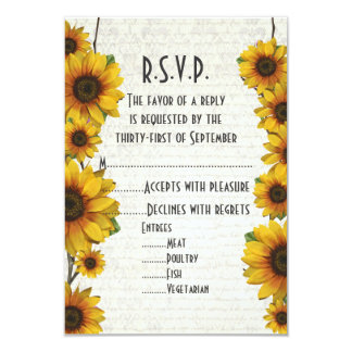 Elegant yellow sunflower country floral R.S.V.P Card