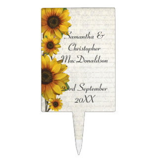 Elegant yellow sunflower country floral wedding cake topper