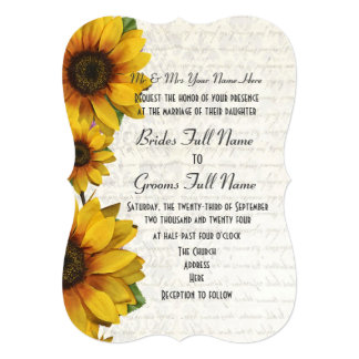 Elegant yellow sunflower country floral wedding card