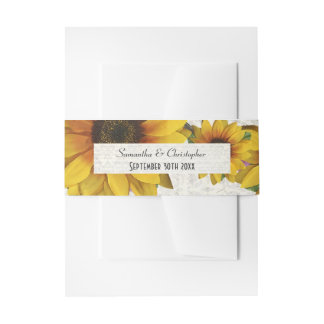 Elegant yellow sunflower country floral wedding invitation belly band