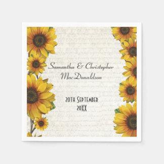 Elegant yellow sunflower country floral wedding standard cocktail napkin