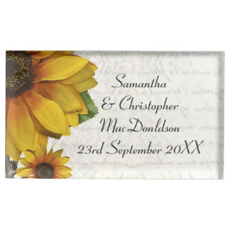 Elegant yellow sunflower country floral wedding table number holder