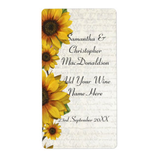 Elegant yellow sunflower country floral wine label