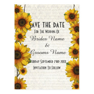 Elegant yellow sunflower country save the date postcard