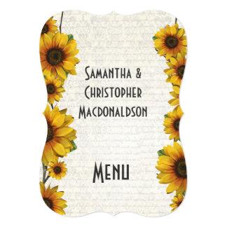 Elegant yellow sunflower country wedding menu card