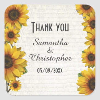 Elegant yellow sunflower country wedding thank you square sticker