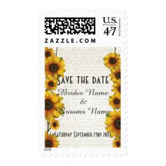 Elegant yellow sunflower floral save the date postage
