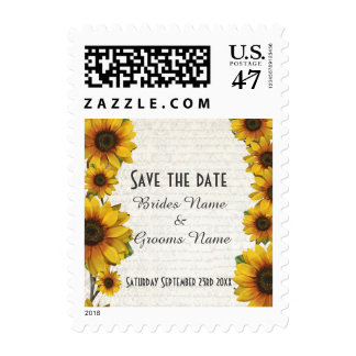 Elegant yellow sunflower floral save the date postage stamp
