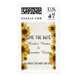 Elegant yellow sunflower floral save the date stamp
