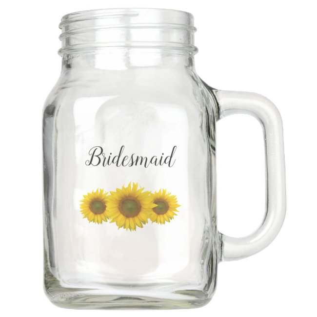 Elegant Yellow Sunflowers Bridesmai Floral Wedding Mason Jar