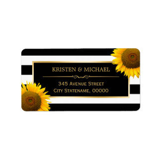 Elegant Yellow Sunflowers with Black White Striped Label