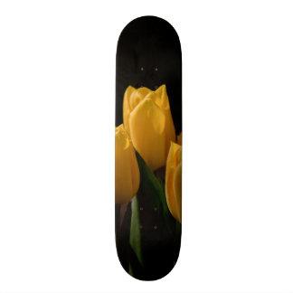 Elegant yellow tulips custom skateboard
