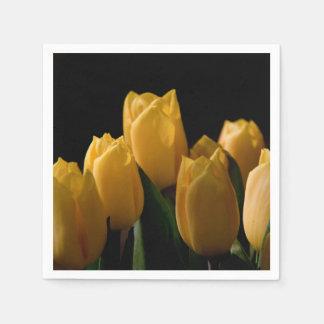Elegant yellow tulips paper napkins