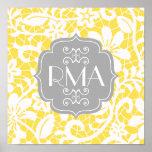 Elegant Yellow Vintage Lace Personalized Monogram Poster