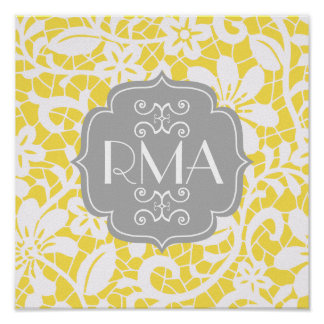 Elegant Yellow Vintage Lace Personalized Monogram Poster