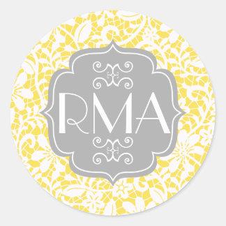 Elegant Yellow Vintage Lace Personalized Monogram Sticker